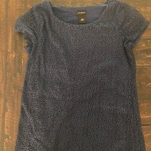 Ann Taylor Blue Textured T-shirt